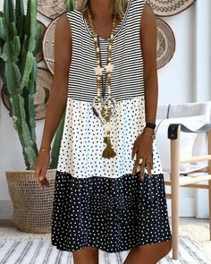 Women's Printed Stitching Sleeveless V-neck Sundress Midi Dress L - - Summer Dresses Midi Sundress, Sundresses, Casual Dresses, Summer Dresses, Dresses Dresses, Ladies Dresses, Dance Dresses, Elegant Dresses, Formal Dresses