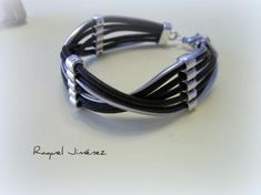 leather and silver bracelet black leather hand zamak