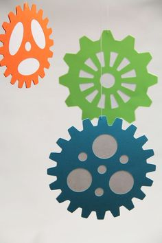Items similar to Large Gears - Hanging Decoration from the Robots & Gears Collection on Etsy Robot Classroom, Classroom Themes, Classroom Design, Gadgets And Gizmos Vbs, Robot Nursery, Maker Fun Factory Vbs, Robot Theme, Vacation Bible School, Acrylic Colors