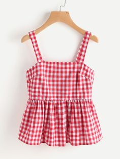 Red Gingham Peplum Top – My Closet Cyprus Crop Top Outfits, Summer Outfits, Girl Outfits, Casual Outfits, Cute Outfits, Girls Fashion Clothes, Girl Fashion, Fashion Outfits, Sewing Clothes