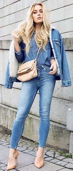 Denim On Denim Fall Streestyle Inspo women fashion outfit clothing stylish apparel @roressclothes closet ideas