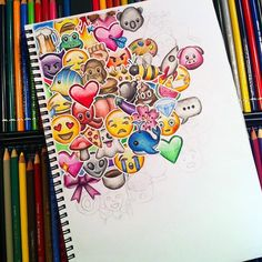 Life is full of emojis. Someday anger,someday happiness n someday tears. All these emojis make our life colourful and lovable 💜💓💝 Amazing Drawings, Beautiful Drawings, Cute Drawings, Drawing Sketches, Amazing Art, Emoji Drawings, Doodle Drawings, Awesome, Doodle Art