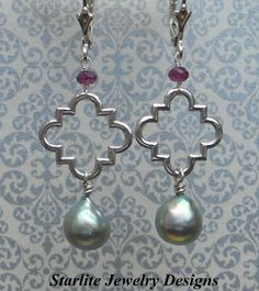 SOLD ~ Signature Logo ~ Quatrefoil Vintage Earrings with Peacock Grey Baroque Pearls by www.StarliteJewelryDesigns.com
