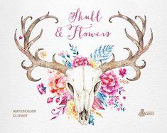 Cráneo y flores. Acuarela cráneos con cuernos y flores, manos pintadas, peonias, flores, invitación, tribales, diy, flores, venados de boho