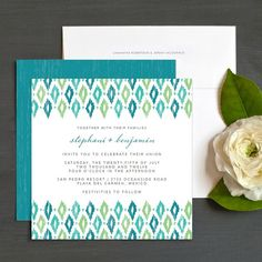 Vibrant Ikat Wedding Invitations by Elli