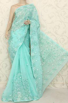 Light Green embroidered cotton saree with blouse - AMG Square - 427347 Indian Sarees, Silk Sarees, Saris, Beautiful Saree, Beautiful Outfits, Indian Dresses, Indian Outfits, Elegant Saree, India Fashion