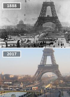 The Eiffel Tower, Paris, France, 1888 - 2017 Tour Eiffel, Then And Now Pictures, Change, Old Paris, Photos Voyages, Historical Pictures, Old Photos, Scenery, Journey