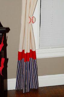 Vintage Baseball Nursery Curtains