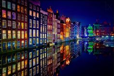 Amsterdam's colorful canals at night, the Netherlands. Image by: Juan Pablo de Miguel