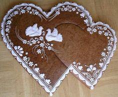 Interlocking Gingerbread Heart Honey Cookies, Iced Cookies, Cake Cookies, Sugar Cookies, Valentine Cookies, Birthday Cookies, Christmas Cookies, Valentines, Hungarian Cookies