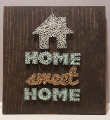 Adorable Home Sweet Home sign that would look amazing anywhere!! I can make this with different colored string or even customize it by adding words or a date onto the wood - to customize this piece, go to my page (BoatMade) and order the listing called Custom String Art and write a note to me or send me a message detailing what you would like!  Dimensions: approximately 1 ft x 1 ft
