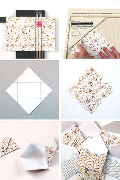 Envelope Fold in 20 Seconds: 3 Creative DIY Instructions - Basteleien - Origami Diy Envelope Template, Origami Envelope, Envelope Design, Diy Envelope Tutorial, Small Envelopes, Paper Envelopes, Mini Envelope Album, Diy Paper, Paper Crafting