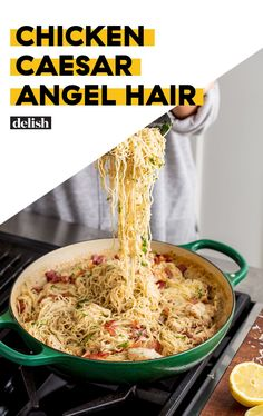 We Used The Best Pasta Sauce Hack For This Caesar Angel Hair Delish- using spaghetti squash Top Recipes, Cooking Recipes, Healthy Recipes, Healthy Meals, Healthy Dishes, Meat Recipes, Healthy Food, Angel Hair Pasta Recipes, Al Dente