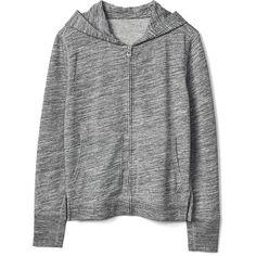 Gap Women Essential Zip Hoodie (115 BRL) ❤ liked on Polyvore featuring tops, hoodies, outerwear, grey marl, regular, zipper hoodie, grey hooded sweatshirt, hooded sweatshirt, hooded zipper sweatshirts and long sleeve hooded sweatshirt