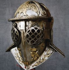 An authentic reproduction of a helmet worn by a 'Provocator' - a type of gladiator dating from the first century AD.