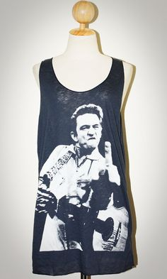Johnny Cash Navy Blue Singlet Tank Top Sleeveless Rock T-Shirt Size L [Maybe someday this will be something I could fit into!!! Good motivation!!]