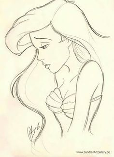 Disney Drawings Sketches, Girl Drawing Sketches, Disney Princess Drawings, Art Drawings Sketches Simple, Drawing Ariel, Princess Disney, Disney Characters To Draw, How To Draw Disney, Easy Sketches To Draw