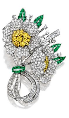 *IMPORTANT DIAMOND, YELLOW DIAMOND AND EMERALD BROOCH, CIRCA 1947, VAN CLEEF & ARPELS, mounted in platinum and 18 karat yellow gold, signed and numbered 58196, with maker's mark of Max Halpern.