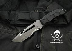 """The FKMD Navita Dive / Combat knife is a brand new model created by the Fox Knives Military Division in Italy. It's a eavy-duty combat/ dive knife featuring a wicked 5-1/8"""","""