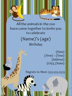 Zoo Animal Birthday Party Invitation Template Invitationtemplatesorg