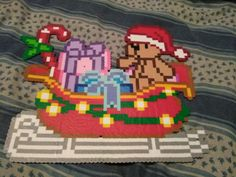 Perler Bead Christmas Santa   Bear on a Sleigh
