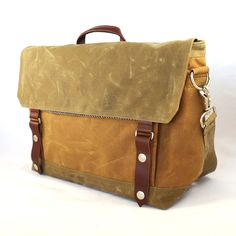Harry Deluxe Waxed Canvas Messenger by WoolyBison on Etsy, $195.00