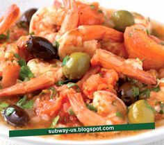pan fried shrimp, olives, and tomatoes recipe