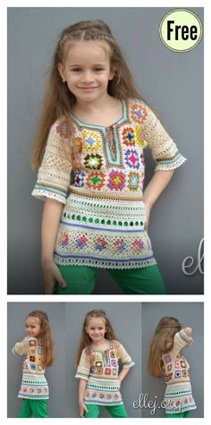 Crochet Square Patterns Granny Square Tunic Free Crochet Pattern - You'll love this Granny Square Tunic Free Crochet Pattern to make a beautiful tunic. The rich colors of this yarn make it even more unique. Crochet Baby Shawl, Crochet Baby Jacket, Crochet Girls, Crochet For Kids, Free Crochet, Knit Crochet, Slippers Crochet, Ravelry Crochet, Granny Square Crochet Pattern