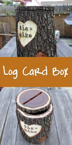 Planning a rustic wedding? This log card box is perfect for collecting notes and cards from your guests.