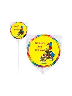 Monkey Party Personalized Lollipops - Monkey Party Custom Swirl Pops