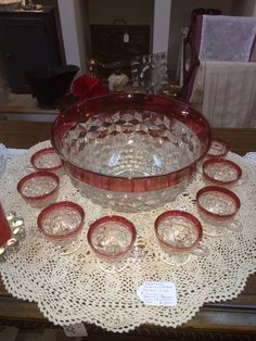 Vintage punch bowl with cups. Punch Bowl Set, Refurbished Furniture, Vintage Glassware, Vintage Kitchen, Cobalt Blue, Bowls, Barware, Cups, Dining Room