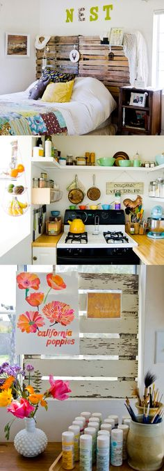deco-maison-californie-2. Pops of colour on white and rustic wood