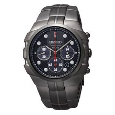 #Seiko Solar Chronograph Black Dial Black PVD Mens #Watch  #graduation #giftforhim #congratulations