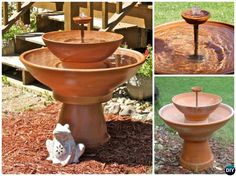 These easy and inexpensive DIY Terracotta Clay Pot fountain projects will be onto your must to do garden design list to bring life Home. Large Outdoor Fountains, Diy Garden Fountains, Small Fountains, Indoor Water Fountains, Garden Pots, Tabletop Water Fountain, Diy Fountain, Cheap Landscaping Ideas, Outdoor Water Features