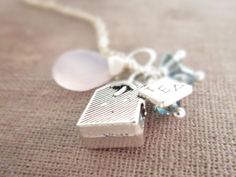 London Fog Necklace Tea Bag Charm Blue by thelittlehappygoose, $35.00