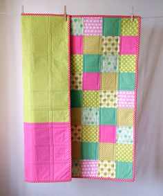 BABY QUILT Modern Pink and Green Baby Quilt, via Two Corner Quilts on Etsy. - I need to try piecing the back like this.
