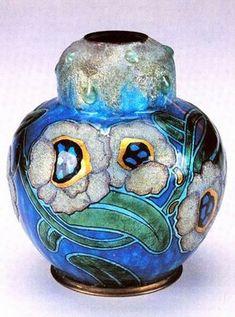 Camille Fauré enamel on copper vase | JV