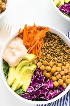 This Nourish Buddha Bowl is filled with nourishing, detoxifying and best of all absolutely delicious veggies and grains and topped with an incredible tahini dressing!
