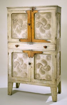 Old Southern Painted Punch Tin Pie Safe...circa 1880.  Love the unusual design on the punched tin.