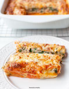 Cannelloni z mielonym mięsem i szpinakiem zapiekane w sosie pomidorowym z mozzarellą