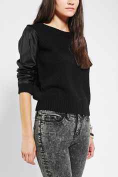 Numph Vegan Leather-Trim Sweater  Online Only