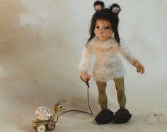 OOAK Fae woodland dryad faerie sculpture art doll by Feythcrafts