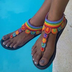 african sandals, masai sandals, masai sandals, beaded sandals, sandals … - Learn and teach you African Accessories, Leather Gladiator Sandals, Beaded Sandals, Unique Shoes, Crochet Shoes, Summer Shoes, Summer Sandals, Flip Flops, Arts And Crafts