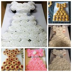 Wonderful DIY Amazing Wedding Dress Cupcake | How to make a cupcake cake in the shape of a wedding dress It's so beautiful ! The cupcakes are topped with swirled white or pink frosting and then arranged in the shape of a wedding dress decorated with shin