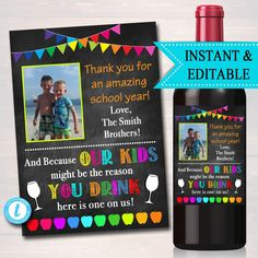 Teacher Gift, End of School Year Wine Label , Printable Teacher Appreciation, Teacher Wine Label, Gift From Student Teacher Appreciation Gifts, Teacher Gifts, Student Teacher, Wine Tags, Wine Labels, Teacher Gift Baskets, Personalised Pens, End Of School Year, Teacher Christmas Gifts