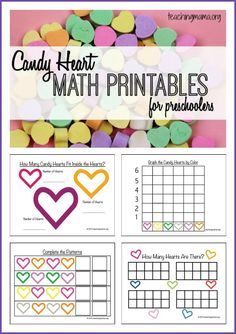 Candy Heart Math Printables - a free packet for preschoolers!