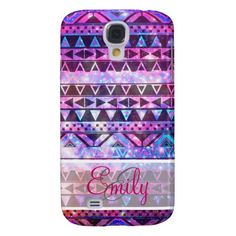 Monogram Girly Andes Aztec Pink Teal Nebula Galaxy Samsung Galaxy S4 Covers