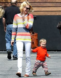 January Jones's 1-year-old son, Xander, raced ahead of her during a stroll through L.A.'s Los Feliz neighborhood March 18.
