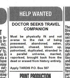 I like how 'married' is squeezed in between 'stranded in a parallel universe' and 'vaporized.' Is being married to the Doctor a draw back?