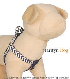 Navy chevron dog harness small dog large dog boy dog pet harness Matching dog collar is available